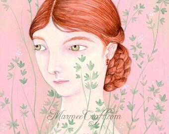 "MarmeeCraft pink leaves portrait print, ""Botanical in Pink"""