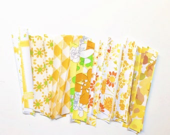 Fabric Tape from Vintage Sheets - Yellow - Peel and Stick - Planner Page Embellishment - Fabric Washi Tape - Scrapbooking - Invitations