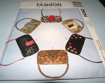 McCalls Fashion Accessories 2934 Purse/bag 5 X 10  Uncut