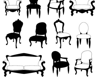 Chair Clip Art Clipart, Chair Silhouettes, Furniture Clip Art Clipart, Decor Clip Art Clipart - Commercial and Personal Use