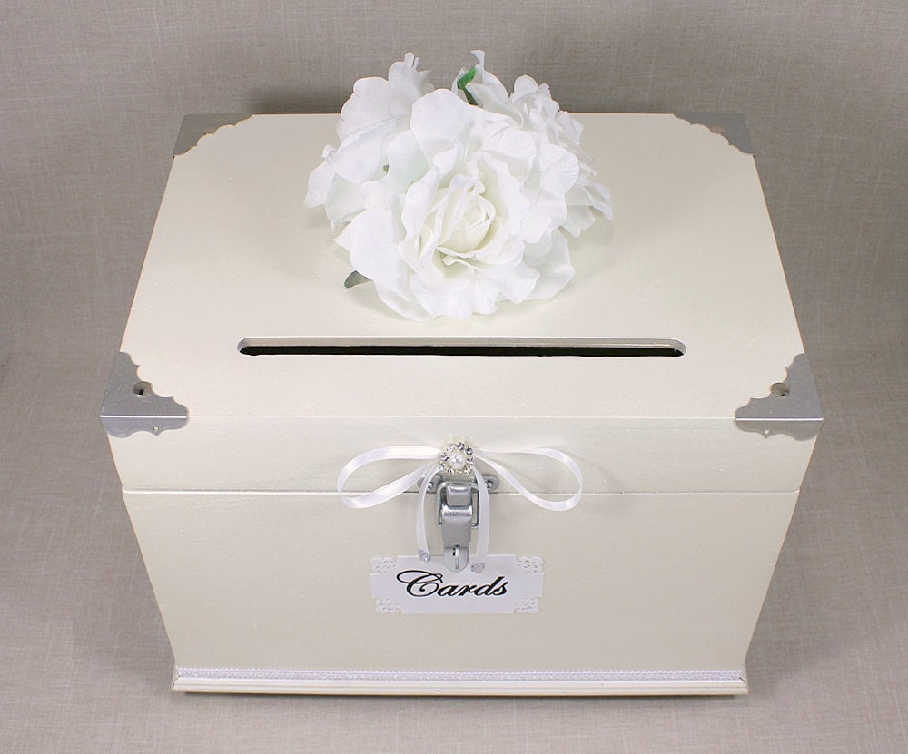 Antique White Pearl Silver Wooden Wedding Card Box Trunk