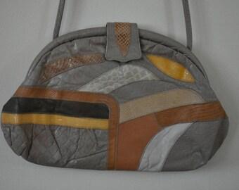 LIZARD QUEEN HANDBAG | 60's purse | patchwork bag | faux leather | vegan leather | evening bag | clutch