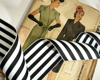 "Black and White Striped Ribbon, Striped Grosgrain Ribbon 2.25"" inch"