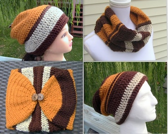 Gift for Men, Slouchy Beanie and Cowl, Reversible Beanie and Cowl 1 Piece Combo, Reversible Beanie, Cowl, Slouchy Beanie