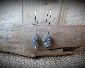 Raw Stone Labradorite Nugget Drop Earrings on Sterling Silver Wire, Handmade, Pierced Ears.