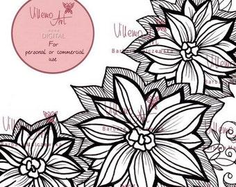Digital stamp - Villemoart - FLORAL001 - Printable Floral Design