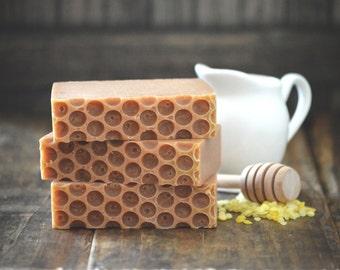 Bee Mine Soap | Handmade Goat Milk Soap, Honey Soap, Beeswax Soap, Oatmeal Soap, Homemade Cold Process Soap, Handcrafted Honeycomb Top Soap