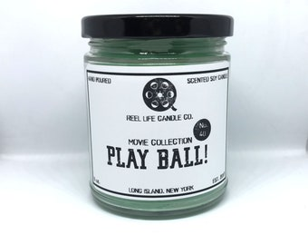 Play Ball The Sandlot Inspired Scented Soy Candle - Baseball, Movie, Nerd, Nerdy, Geek, 9oz, Grass, Bubblegum