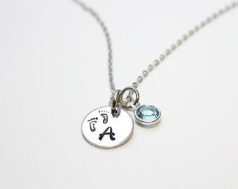mothers necklace, new mother necklace, footprint necklace, first time mother necklace, baby initial necklace, baby footprint necklace