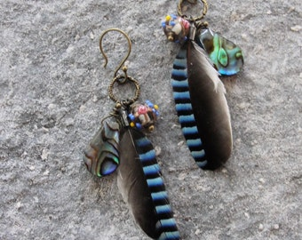Feather Shell Tribal Earrings Abalone shells and Eurasian Jay Feathers