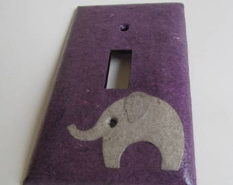 Elephant on Purple Light switch Plate- single- Recycled Materials