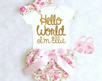 Baby Girl Coming Home Outfit Newborn Girl Coming Home Outfit Baby Girl Clothes HELLO WORLD Personalized Newborn Outfit Baby Girl Outfits