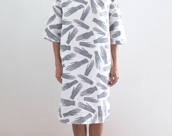 Grey and White Palmistry Hands Linen Dress