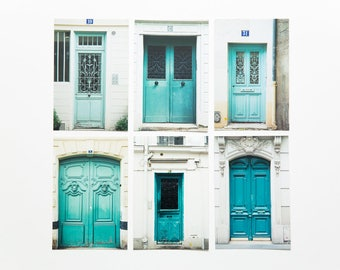 Paris Photo Postcard Set- Turquoise Doors, set of 6 - 4x6 photography print set, Paris photography, French postcards, Paris Door Photos