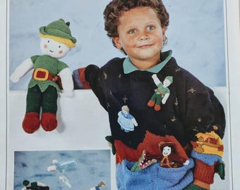 Wendy Knitting Pattern for Child's Peter Pan Sweater, Toys and Mobile in DK