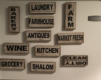 Handmade-Farmhouse Kitchen-Fixer Upper-Wood-Kitchen-Magnets-Home-Decor-Decorative Accents