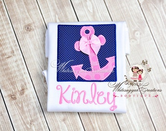 Girls Anchor Box Embroidered Shirt - Custom Monogrammed Sailing Shirt Monogrammed Outfit