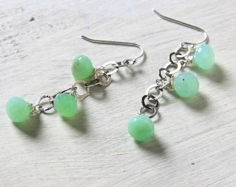 Green Chrysoprase Earrings Green Dangle Earrings Long Green Earrings Chrysoprase Jewelry Oxidized Sterling Silver Chain