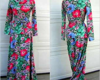 Vintage 70s Versatile Knit Dress Set Strapless Sundress Tunic Top Maxi SkirtBlue & Red Poppy Print S to M