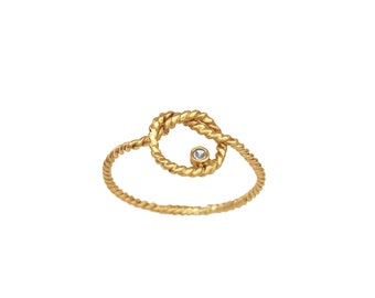 14K Yellow Gold Love Knot and Diamond Ring