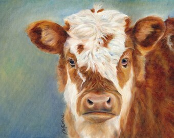 Cow Painting on Canvas, Giclee print
