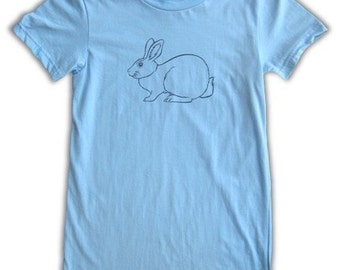 Women's Bunny Tshirt - light blue tee, in small, medium, and large