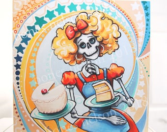La Catrina Baker | Day of the Dead Art by Bones Nelson. Mexican Kitchen Folk Art Print | Orange Blue Cute Skeleton Pastry Chef Gift