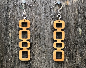 Laser cut mid century style bamboo earrings