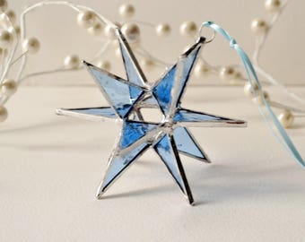 12 Point Moravian Star.  Blue Star. Stained Glass Star. 4""