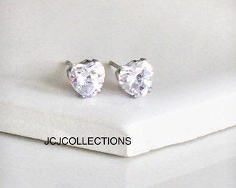Silver Heart Stone Stud Earrings