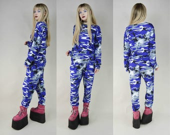 Grunge Punk Blue Camouflage Handmade Two Piece Loungewear Pyjama Set M