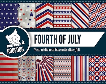 Fourth of July digital paper | silver foil independence day | digital paper pack instant download | USA patriotic stars & stripes america