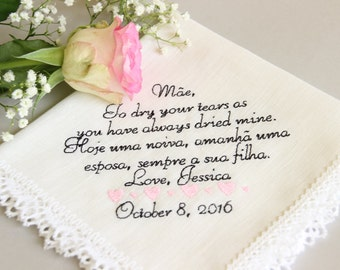 Personalized an international text-latin leters only, Wedding Handkerchief for Mother of the Bride from Bride