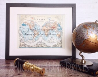 Vintage Old World Map Print, Travel Gift, Mark Twain Quote Travel Poster, Unique Gift for Him, Travel Quote Map Print, Gift for Traveller