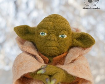 FOR EXAMPLE Starwars doll Yoda - needle felted yoda figure, star wars toy, yoda collectible toy, art doll,  star wars doll, maitre yoda