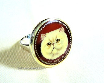 Hand Painted White Persian Cat Cameo Sterling Silver Ring Art Jewelry SylCameoJewelsStore