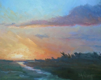 "Small Marsh Sunset Painting, Scenic Landscape, 8x10"" Impressionist Landscape, Orange Sky, Lavender Clouds, Free Shipping in US"