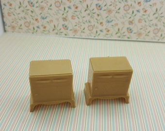 Plasco Bedroom Night stands Tan hard plastic  Toy Dollhouse Traditional Style 1944