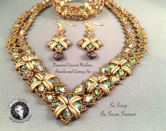 Diamond Crescent Necklace, Bracelet and Earrings Tutorial