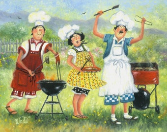 Chefs Art Print, fat chefs, chef paintings, chef art, BBQ chefs, barbeque chefs, kitchen art, summer art, lady chef, Vickie Wade art
