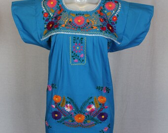 Mexican Embroidered Tunic-Embroidered by Hand-Blue (Small) BOHO Hippie-Handmade-Beautiful-Valentines Day Gift-Fiesta Mexicana-Birthday-Art