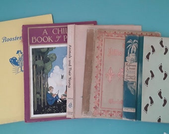 Hardcover Books, EMPTY, NO PAGES from Vintage Illustrated Children Books. Paper ephemera, Junk Journal, Collage, Craft Projects, Scrapbook