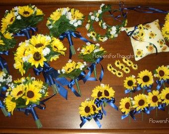 Rustic 28pc. Sunflower Wedding Package, Navy Ribbon, Made to Order