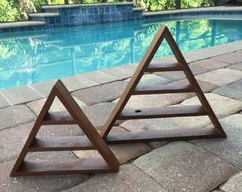 Medium Triangle Shelf Magical Pyramid Shelf Three Shelves for Crystal and Gemstone Display Natural Stain