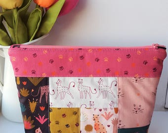 Patchwork Zipper Pouch - Pink/Mustard  - Project Bag - Cosmetic Bag - Cats/Serengeti/Leopards