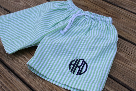 Seersucker Boys Monogrammed Swimsuit