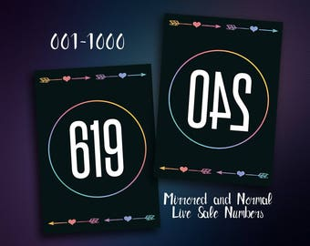 Live Sale Numbers - Reverse Numbers Tags - 001-1000 - Live Sale Tags - Mirrored and Normal Number Tags - Instant Download