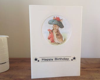 Beatrix Potter, Benjamin Bunny Birthday card made with vintage illustration