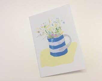 cornishware flower greeting card
