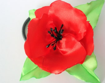 Poppy Hair Clip - Girl Hair Ribbon - Hair Accessories - Red Poppy Hair - Red Flower Clip - Flower Girl Hair Clip - Handmade Hair Clip